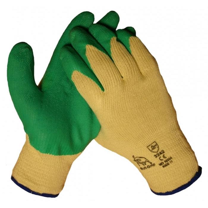 Bull Progrip groene werkhandschoen met latex anti slip coating op een katoenen onderhandschoen 10304