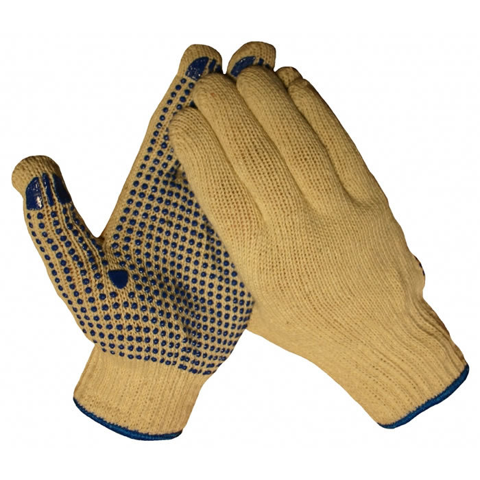 HSGH katoenen rondbrei werkhandschoen met antislip pvc nopjes op de palm met blauwe bies 10042