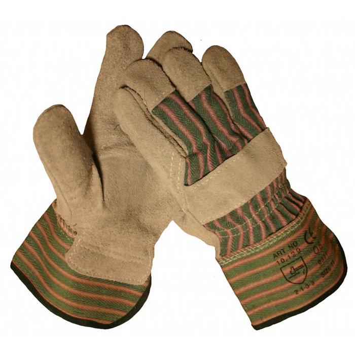 HSGH A kwaliteit splitlederen werkhandschoen met palmversterking met groen/grijs streepdoek 10129