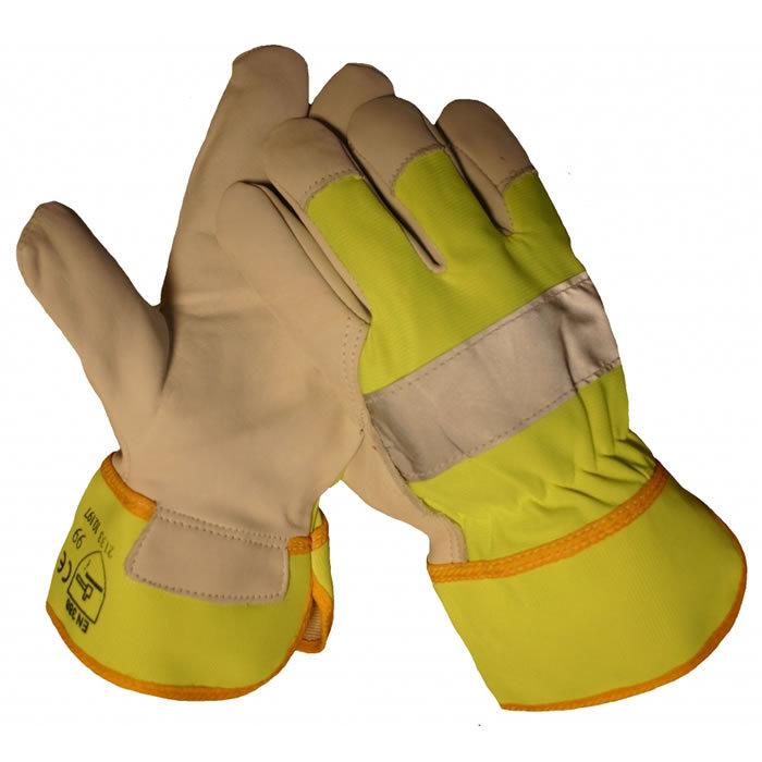 HSGH rund/boxlederen werkhandschoen met geel fluorescerend doek en reflectiestreep 10197