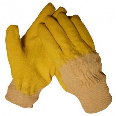 HSGH werkhandschoen latex geel met ventilerende rug en tricot boord 10300
