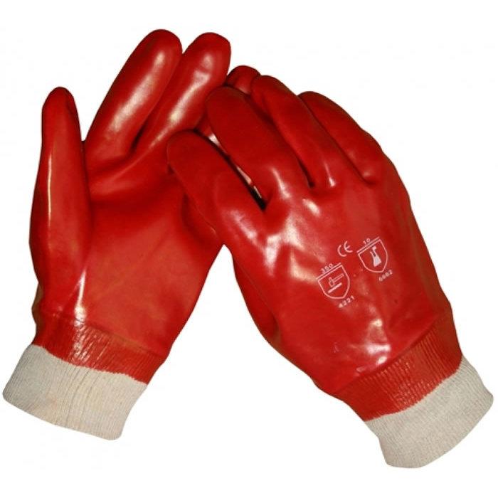 HSGH Rode PVC werkhandschoen met gesloten rug en tricot boord 10360