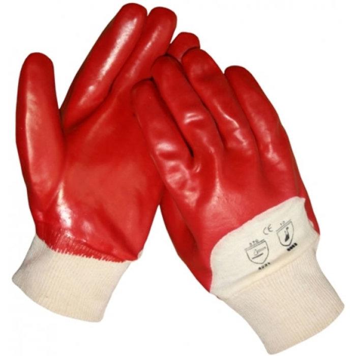 HSGH Rode PVC werkhandschoen met ventilerende rug en tricot boord 10370