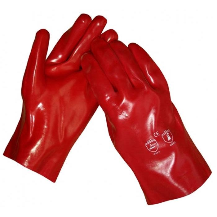 HSGH Rode PVC werkhandschoen lengte 27cm 10371