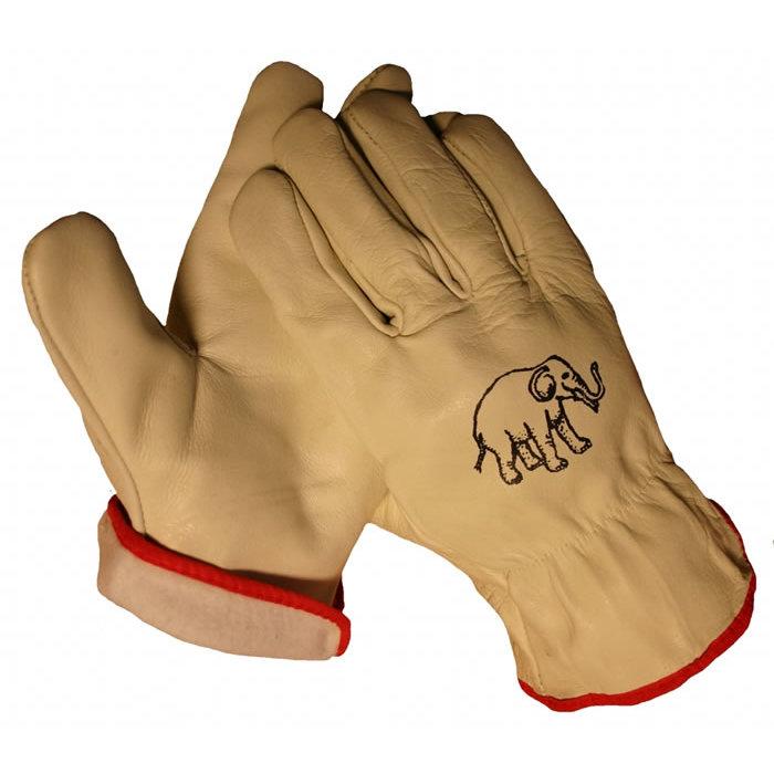 HSGH Chauffeursrund boxlederen werkhandschoen met flanel voering en elastiek in de rug 10420