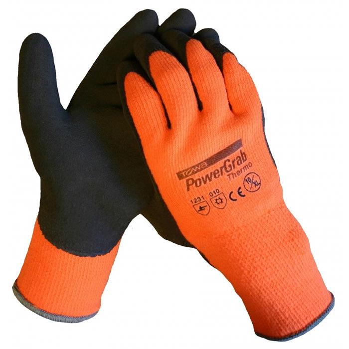 Towa Powergrab werkhandschoen met thermo microfinish latex coating op een gebreide acryl onderhandschoen 14thermo